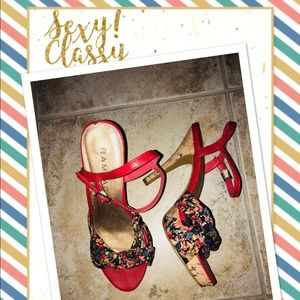 Rampage Shoes | Colorful  Floral  -Cork Heel